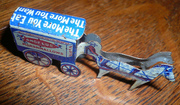 Antique Tin Lithograph cracker jack Prize Toy Horse Wagon SALE