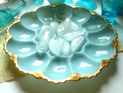 Vintage Blue Milk Glass Egg Platter Gold Edging