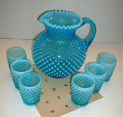 Vintage Fenton Hobnail Aqua Pitcher and Cups