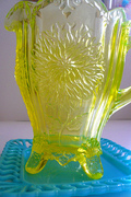 Vintage Vaseline Glass Pitcher