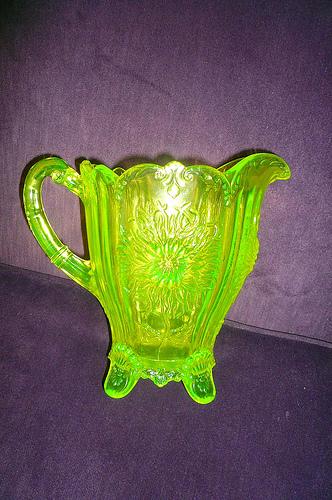 Vintage Vaseline Glass Pitcher