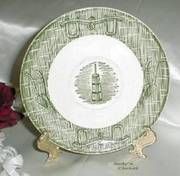 2390 Vintage Scio Pottery Currier & Ives Saucer