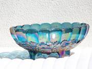 Blue Carnival Glass Footed Harvest Grape Bowl