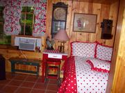 family room red white comfortor 50s curtains and table ladder
