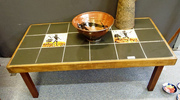 Retro tiled top coffe table and retro Australian Pottery