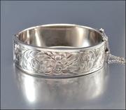 Sterling Silver Bangle Art Deco Bracelet Wide Floral Engraved