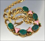 German Pink Green Glass Art Deco Necklace Chain Tassel