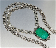 Sterling Silver Marcasite Chrysoprase Art Deco Necklace