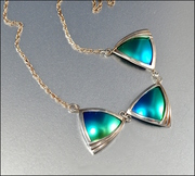 Sterling Silver Modernist Art Deco Necklace Geometric Peacock