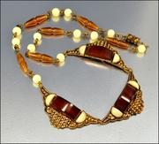 Root Beer Glass Czech Art Deco Necklace Gold Brass