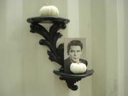 Vintage Curio Display Shelf Black Scroll Leaf Homco Dart