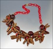 Celluloid Nut Seeds Fringe Bib Art Deco Necklace