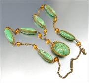 Celluloid Amber Glass Gold Art Deco Necklace Green Flapper