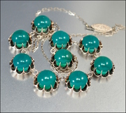 Chinese Silver Green Chyrsoprase Art Deco Necklace