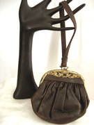 Arts & Crafts Era Leather Purse w Ornat Frame