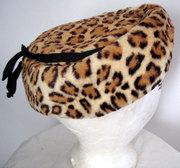 50s Real Fur Leopard Print Hat Gimbels