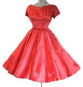 Vintage Red Satin Brocade Party Dress Valentines