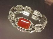 Art Deco Carnelian and Marcasite Bracelet