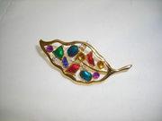 Gold Tone Glass Rhinestone Stone Insert Autumn Pin, Jewelry