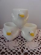 3 Milk Glass chicken shaped Egg cups