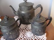 Triple Plate Old Tea Pot sugar and cream