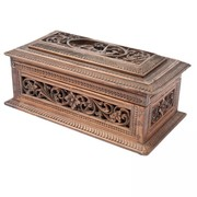 South India Sandalwood Box with Animal Carving - MDAntiques