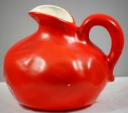 Orange Red Vintage Thumb Print Pottery Pitcher