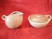 RAYMOR CONTEMPORA (1950-51) BY BEN SEIBEL MADE BY STEUBENVILLE – CREAMER AND LIDDED SUGAR BOWL!
