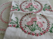 Vintage Embroidered Floral Pillowcases
