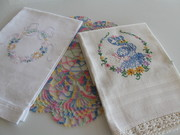 Vintage Embroidered Guest Towels & Crocheted Doily