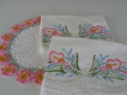 Vintage Embroidered Floral Pillowcases & Floral Crocheted Doily