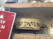 Pyrex Golden Acorn casserole with cradle