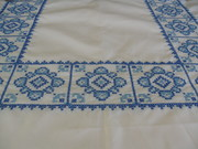 Vintage Embroidered Blue Cross-Stitch Tablecloth