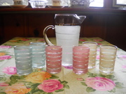 West Virginia Glass, Juice Pitcher and glasses