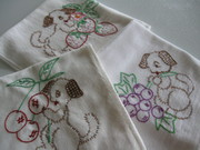 Vintage Embroidered Puppy Feed Sack Towels