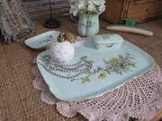 Antique Haviland Limoges Dresser Set Tray Vase Pin Box Small Dish Collection Hand painted Daisies And Butterflies On Pale Green