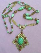 1920's Long Czech Necklace with Pendant