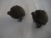 Japanese pair of bronze Quails