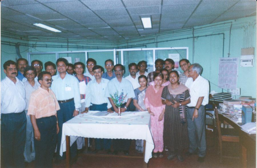 Badan Barman with the staff of Central Reference Library (CRL), Kolkata
