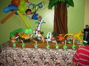 Decoracion cumpleaños Diego Go Safari