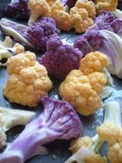 purple, cheddar cauliflower