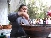 Cooking mole in a clay pot