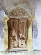 Old door in Ferragudo, Portugal.