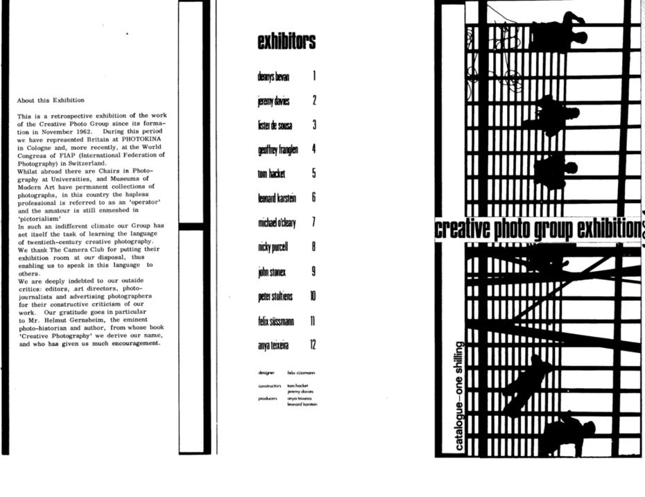 Creative Photo Group September 1964 Exhibition: Programme