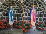 Renowacja figury Matki Bożej, porównanie przed i po renowacji.