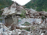 Destroyed school after earthquake