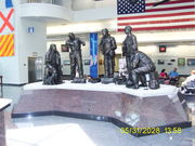 Naval Air Museum entry statues