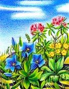 Bergblumen mit Enzian