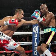 Sergey Kovalev defeated Bernard Hopkins by unanimous decision to defend his WBO light heavyweight title.