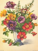 FLORAL ART PRINT vintage bouquet flowers!